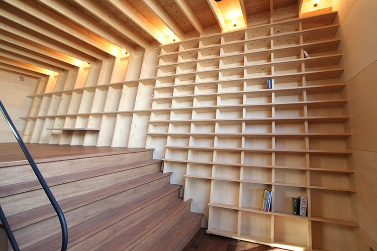 Earthquake Proof Floor-to-Ceiling Bookshelf by Architect Shinsuke Fujii