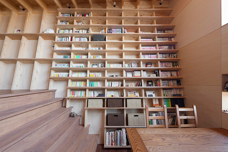 Earthquake Proof Floor To Ceiling Bookshelf By Architect Shinsuke Fujii