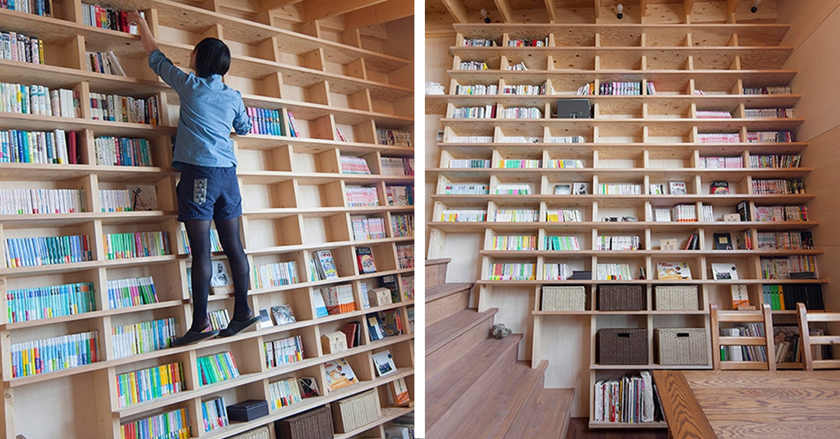Architects Design Home With Earthquake Proof Floor To Ceiling Bookshelf