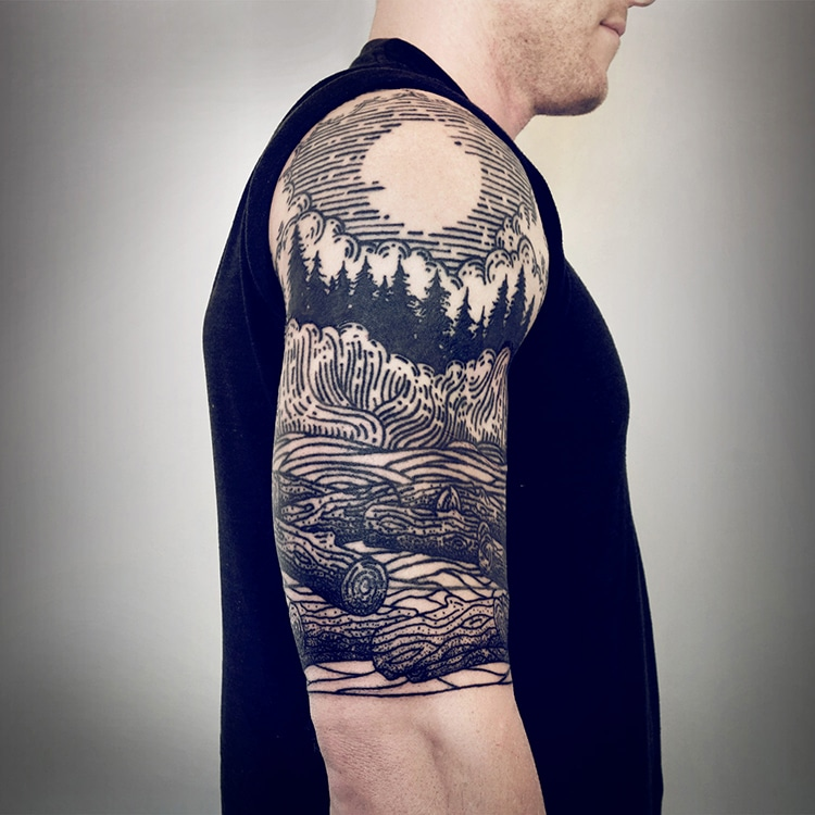 Half-Sleeve Tattoos Cover Arms in Mythical Landscape Illustrations