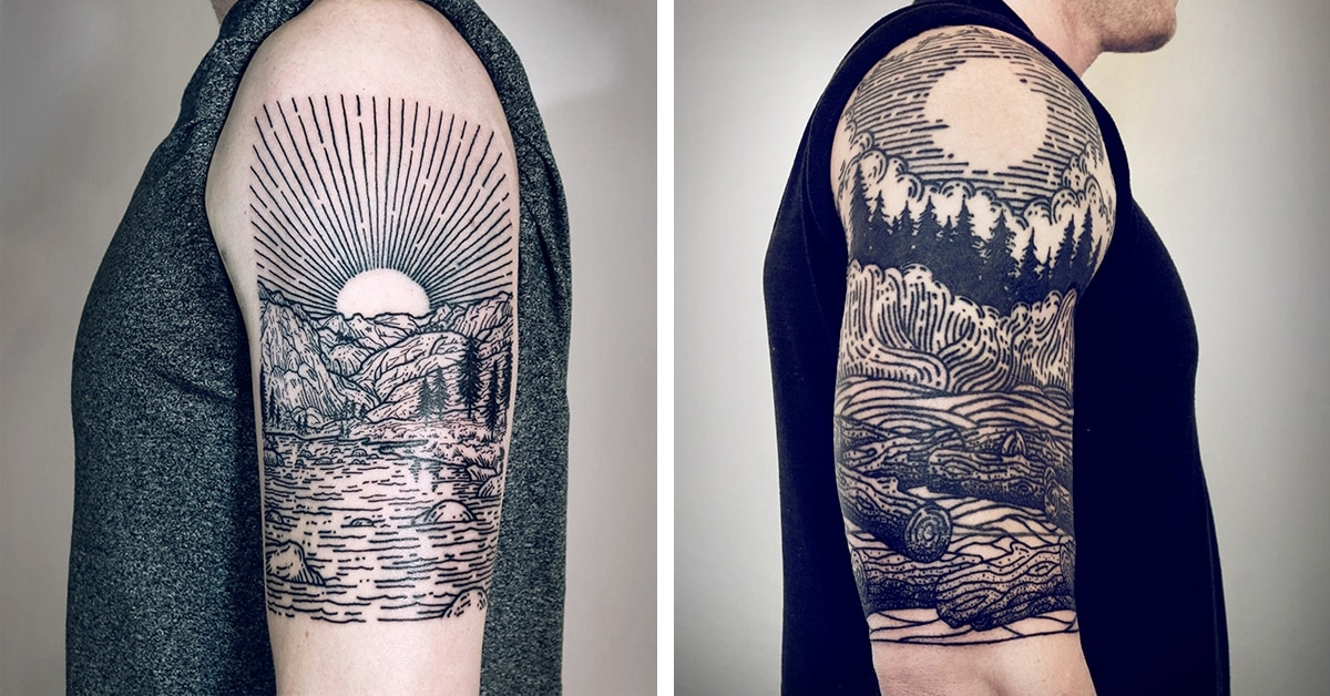 Tattoo Half Sleeve: Tattoo Artist's Signature Linework Depicts Mythical Scenes