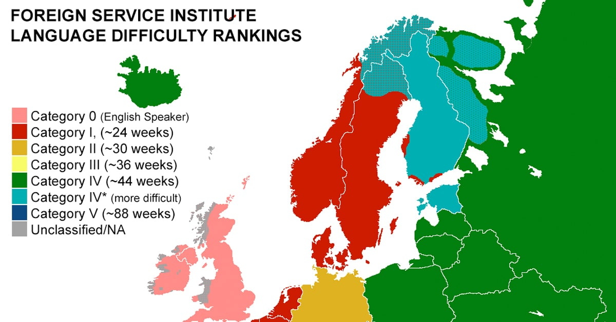 European Language Map Reveals The Hardest Language To Learn - Linguistic map of the world