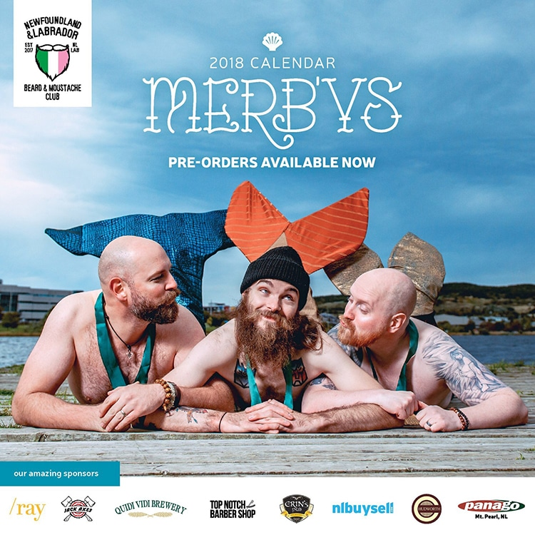 Merb'ys Mermen Calendar Newfoundland Beard and Moustache Club