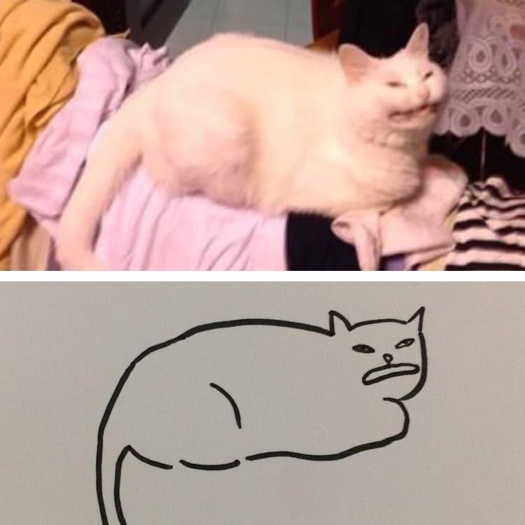 minimalist cat art subreddit 11 - Walau Cuma Garis Sederhana, 13 Gambar Kucing Ini Tampak Mirip dan Kocak