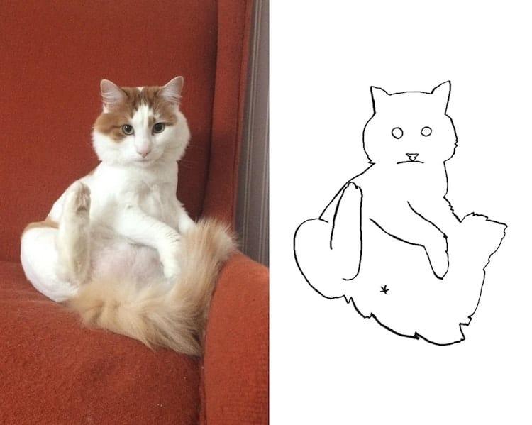 minimalist cat art subreddit 15 - Walau Cuma Garis Sederhana, 13 Gambar Kucing Ini Tampak Mirip dan Kocak