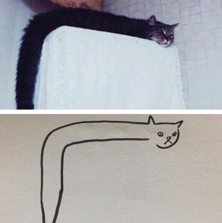 Minimal Cat Art Is A Subreddit Where People Share Their Simple Cat Drawings