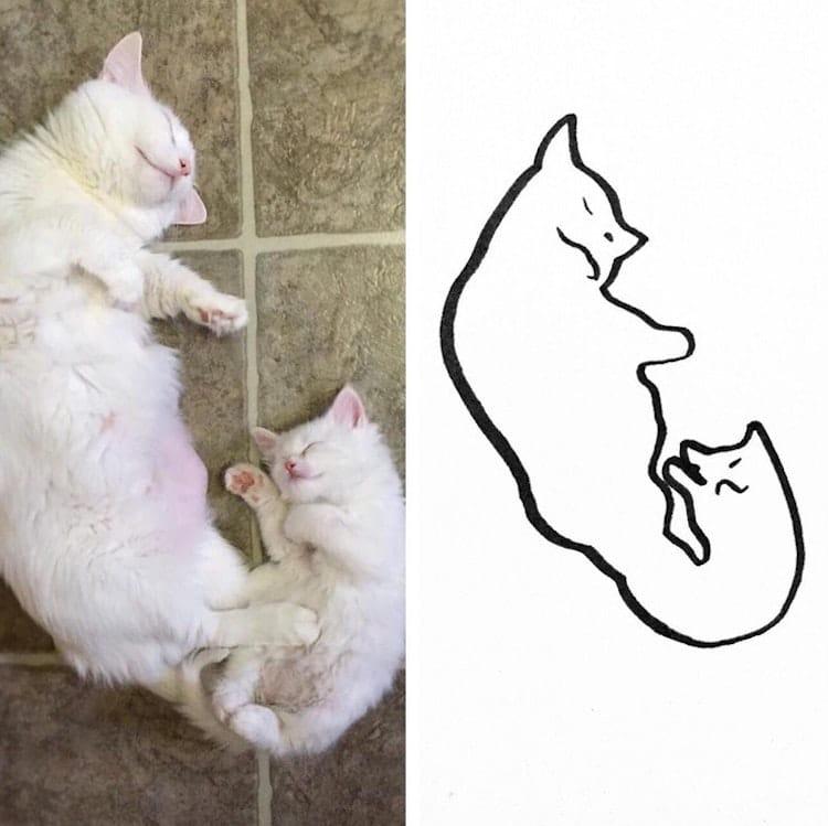 minimalist cat art subreddit 2 - Walau Cuma Garis Sederhana, 13 Gambar Kucing Ini Tampak Mirip dan Kocak