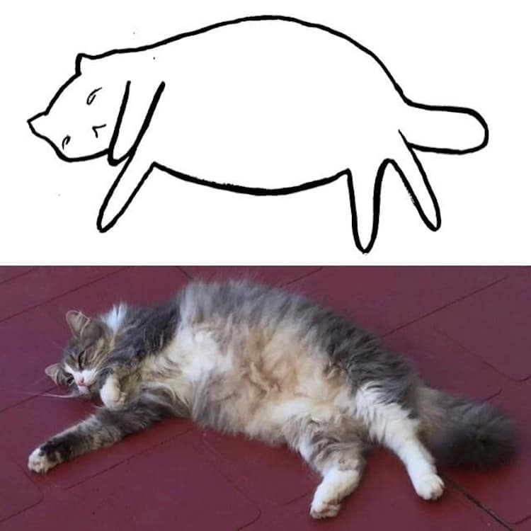 minimalist cat art subreddit 8 - Walau Cuma Garis Sederhana, 13 Gambar Kucing Ini Tampak Mirip dan Kocak