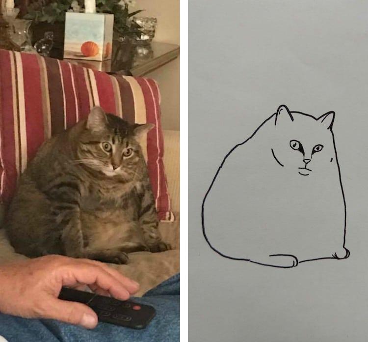 minimalist cat art subreddit 9 - Walau Cuma Garis Sederhana, 13 Gambar Kucing Ini Tampak Mirip dan Kocak