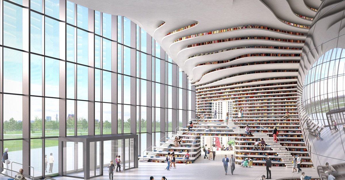 Chinese Library Holds 1 2 Million Books Within Its Curved
