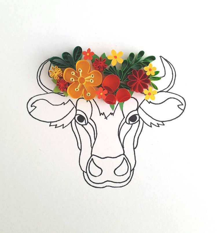 Quilling Line Art : Artist creates colorful illustrations with fine lines and