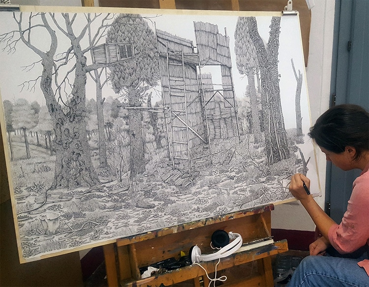 Pen and Ink Landscape Drawings by Olivia Kemp