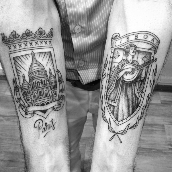 Blackwork tattoo history the history of blackwork tattoos artist creates tattoos that combine a love of vintage illustrations and world travel gumiabroncs Images