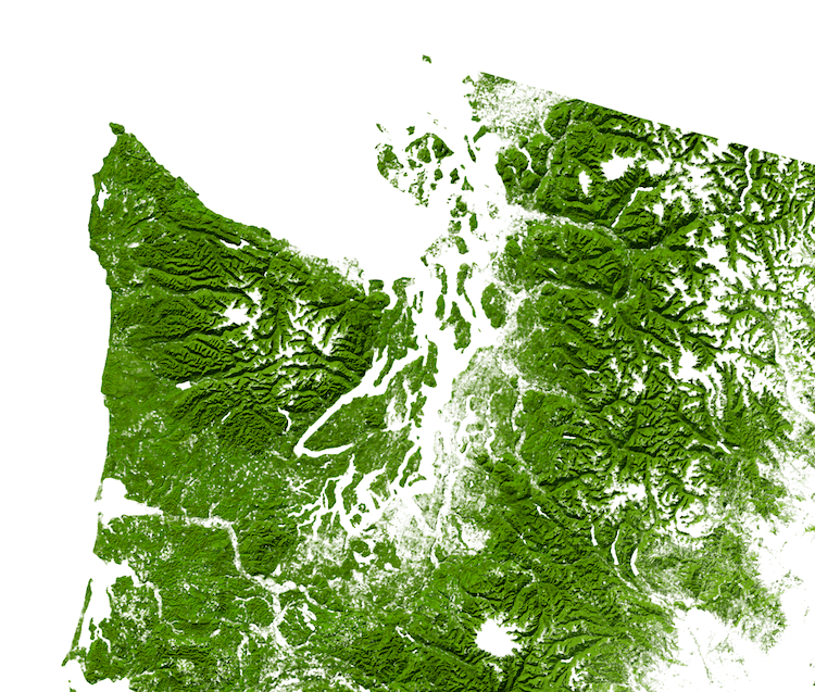United States Map from Over 1000 Million Acres of Forests