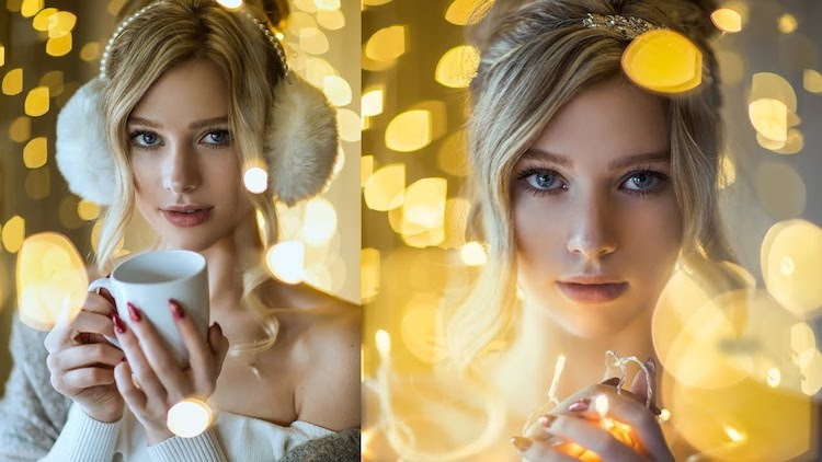 Christmas light portrait photography lighting tips