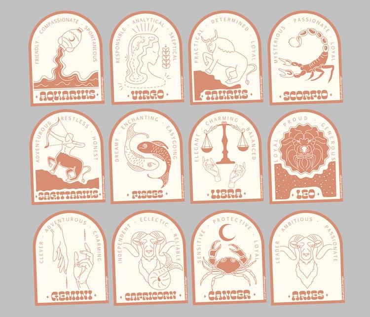Zodiac Vinyl Stickers