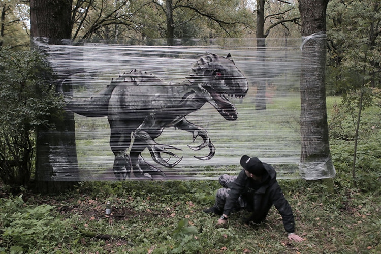CelloGraff Forest Animals by Evgeny Ches & Graffiti Artist Spray-Paints CelloGraff Forest Animals onto Plastic Wrap