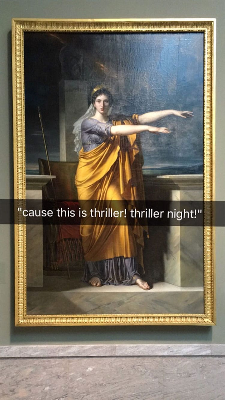 Image of: Funny Animal Funny Museum Snapchats My Modern Met People Are Memeifying History With Funny Museum Snapchats