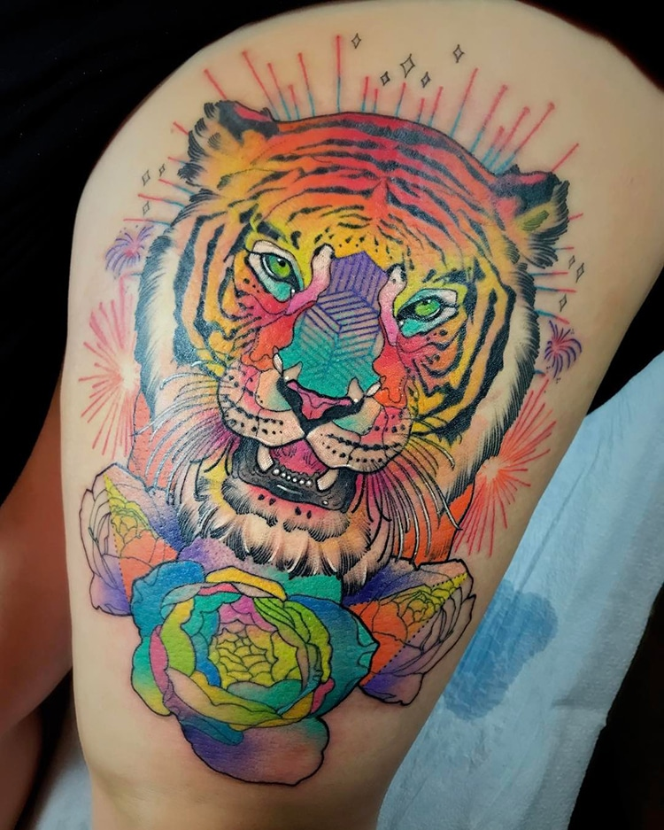 Colorful Lion Tattoo Tattoo Tattooed Tattoos: Artist's Psychedelic Animal Tattoos Pop From The Skin With