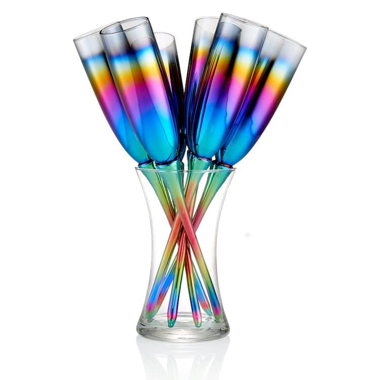 Rainbow Champagne Toasting Flutes