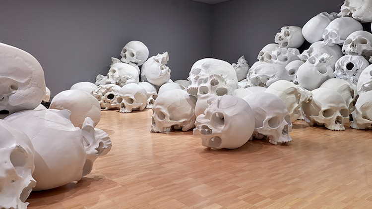 Ron Mueck skull sculptures