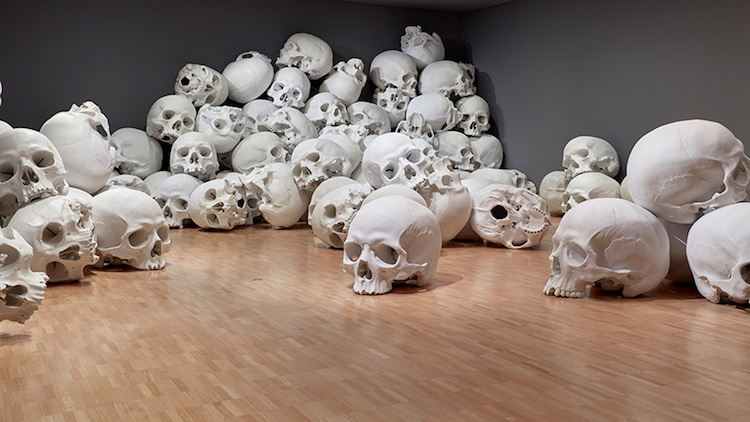 Ron Mueck skull sculpture