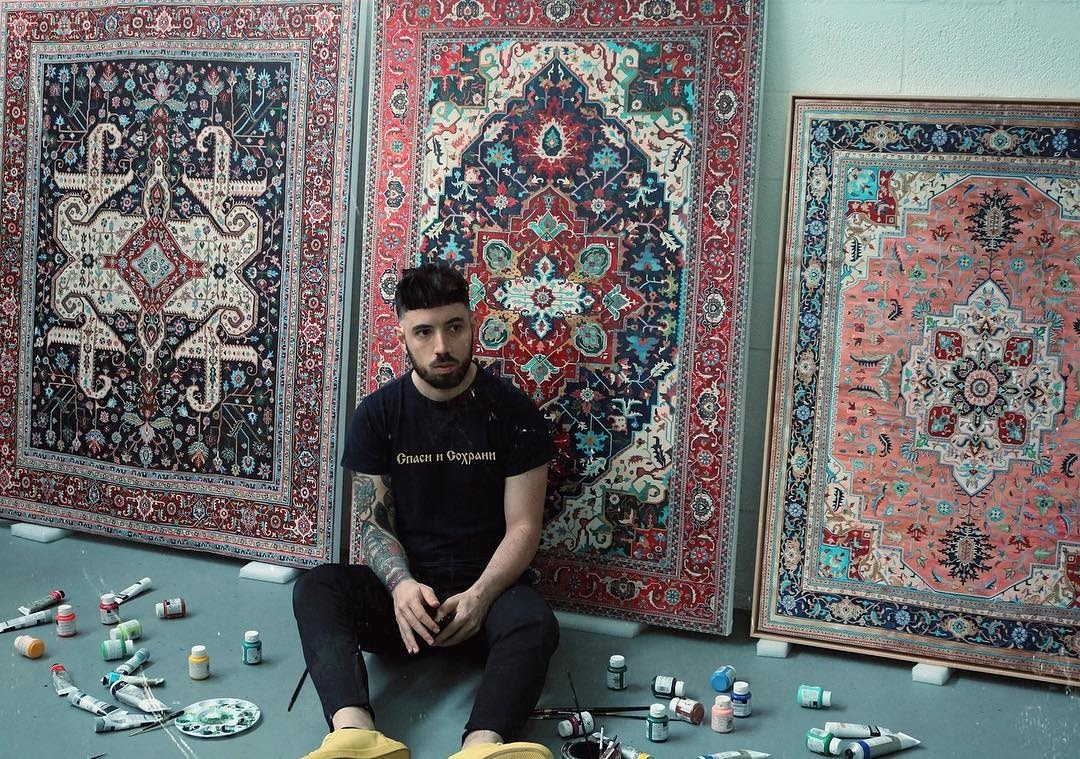 Contemporary Art Painting Of Intricately Patterned Rugs By