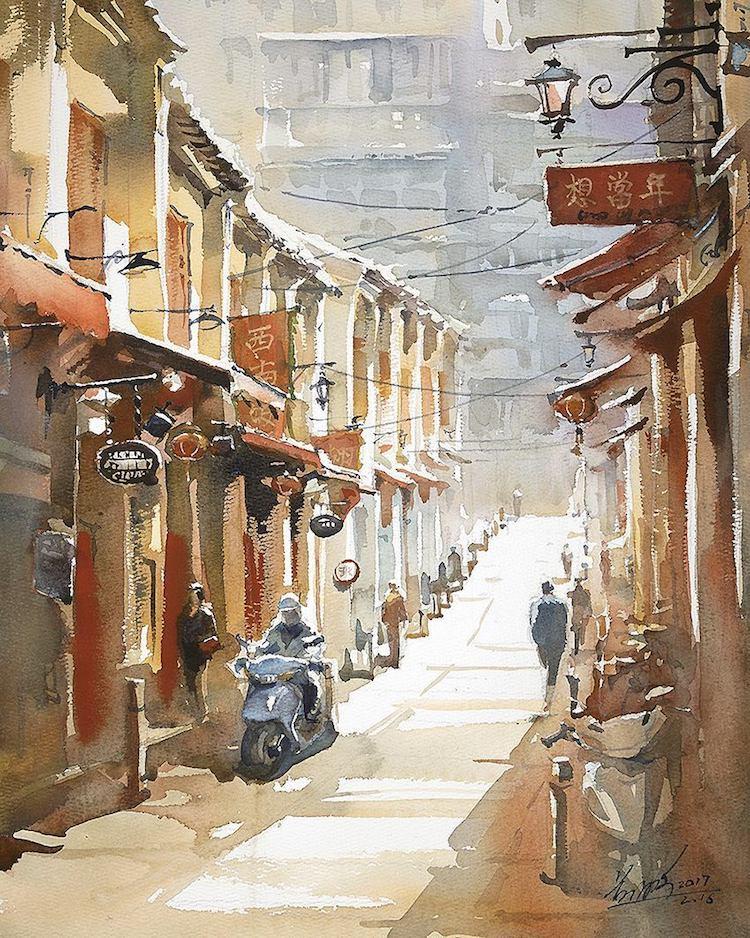 Urban Sketch Watercolor Paintings by Kwan Yeuk Pang