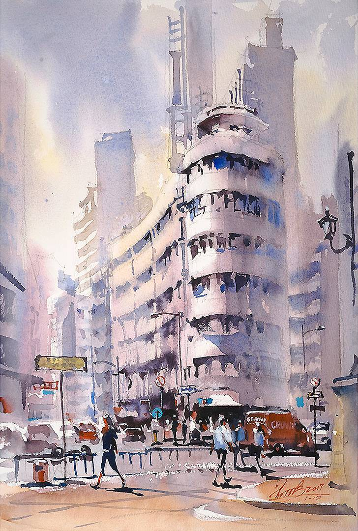 Urban Sketch Watercolor Paintings by Kwan Yeuk Pang
