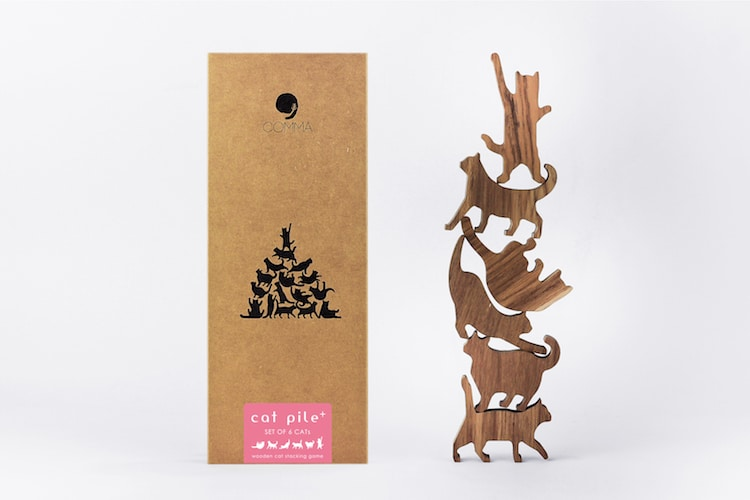 Wooden Cat Stacking Game by Comma, Sold in My Modern Met Store