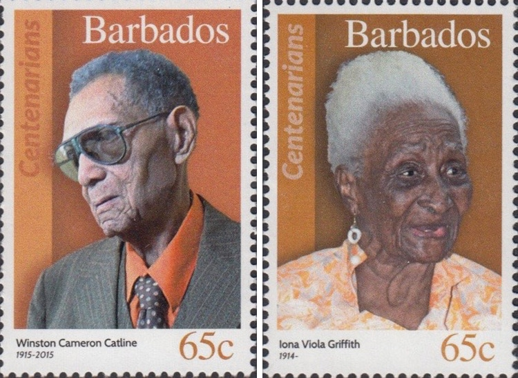 Centenarians of Barbados' Stamps Celebrate 100-Year-Old Citizens