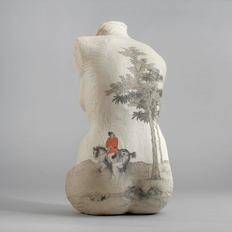 Chinese Painting Rice Paper Sculptures by Peng Wei