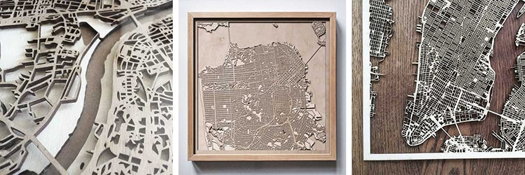 Minimalist City Map Wall Art Is Made From Layers Of Laser Cut Wood