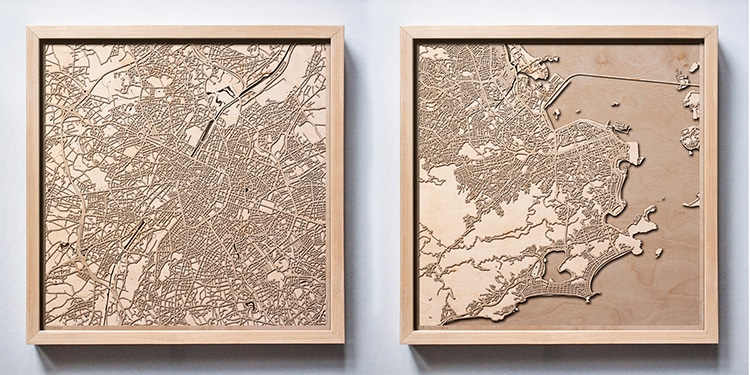 Laser-Cut Wood Map Wall Art by CityWood