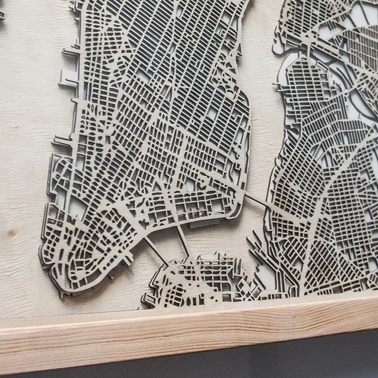 Minimalist City Map Wall Art is Made From Layers of Laser-Cut Wood