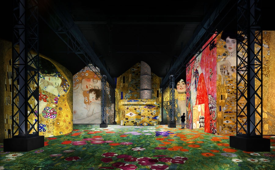 immersive experience uses digital projections to showcase klimt art. Black Bedroom Furniture Sets. Home Design Ideas