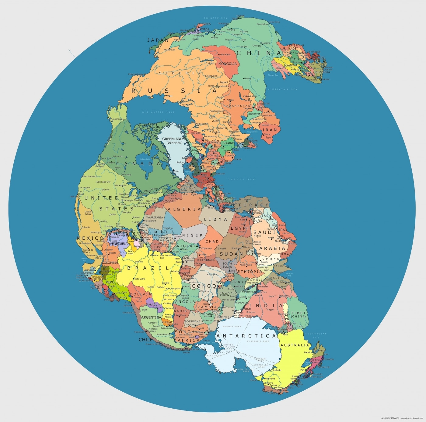 Modern Pangea Map Showing Today\'s Countries on the Supercontinent