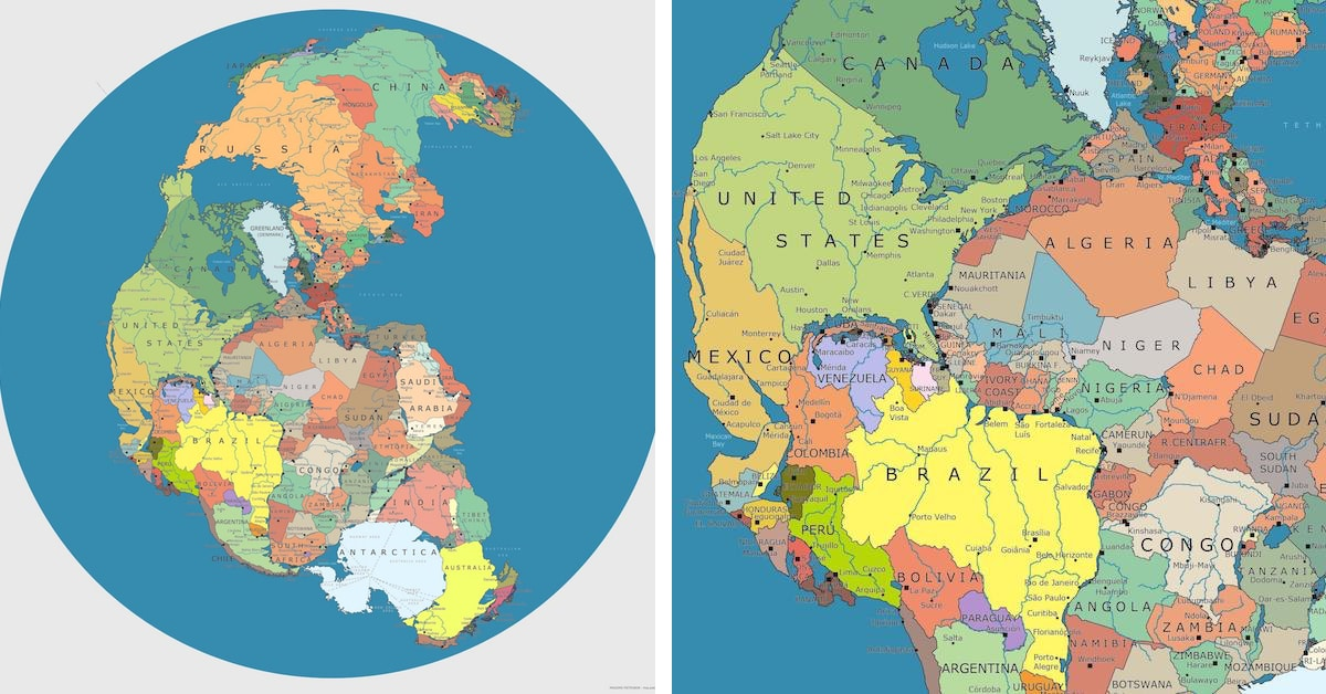 Modern Pangea Map Showing Today's Countries on the Supercontinent