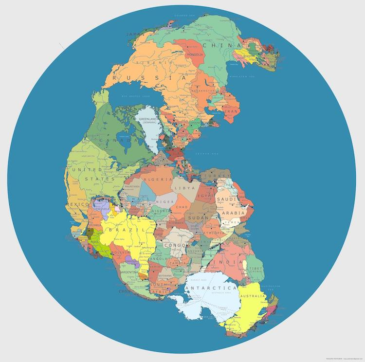 The Real World Map You Are Being Lied To.Modern Pangea Map Showing Today S Countries On The Supercontinent