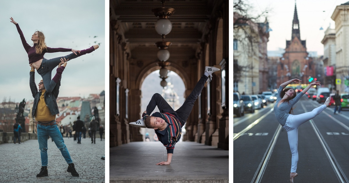 Dynamic Dancers Photographed on the Historic Streets of Prague