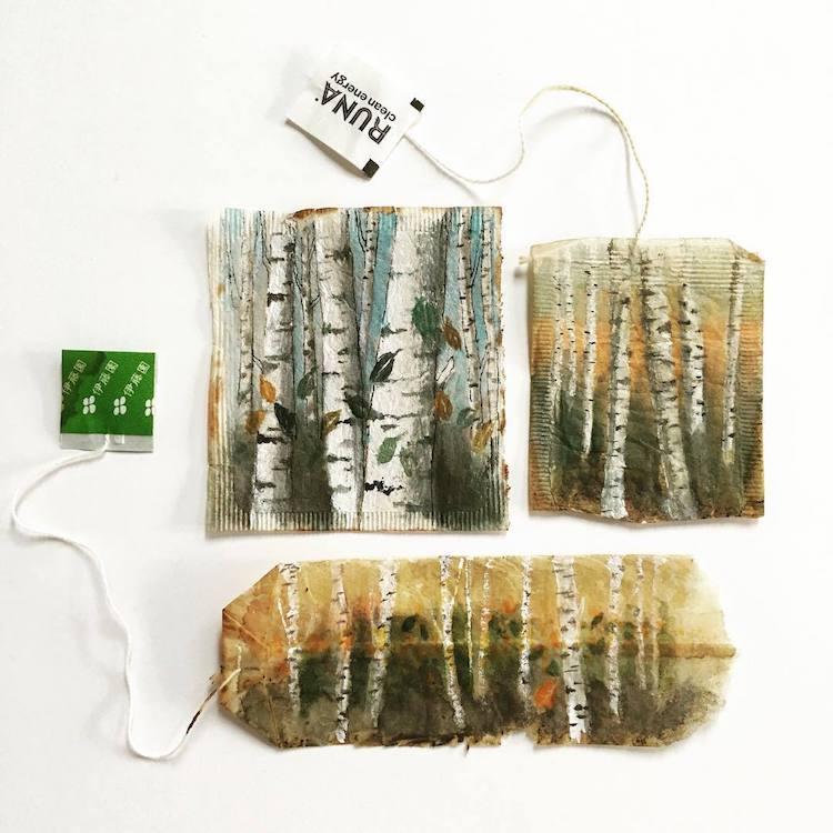 Tea Bag Paintings Ruby Silvious