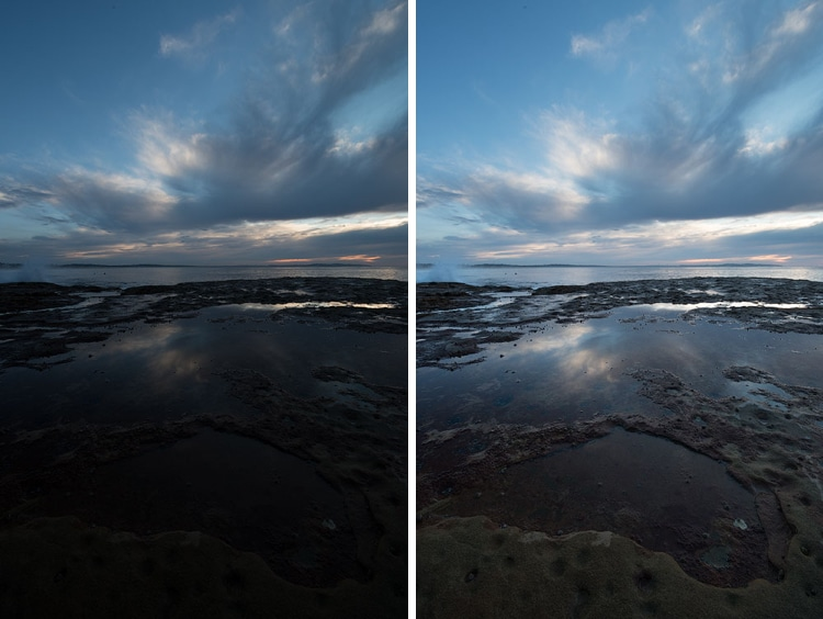 camera settings for photographing the ocean