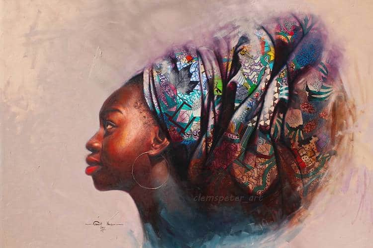 Nigerian Artist Creates Realistic Oil Portraits Incorporating