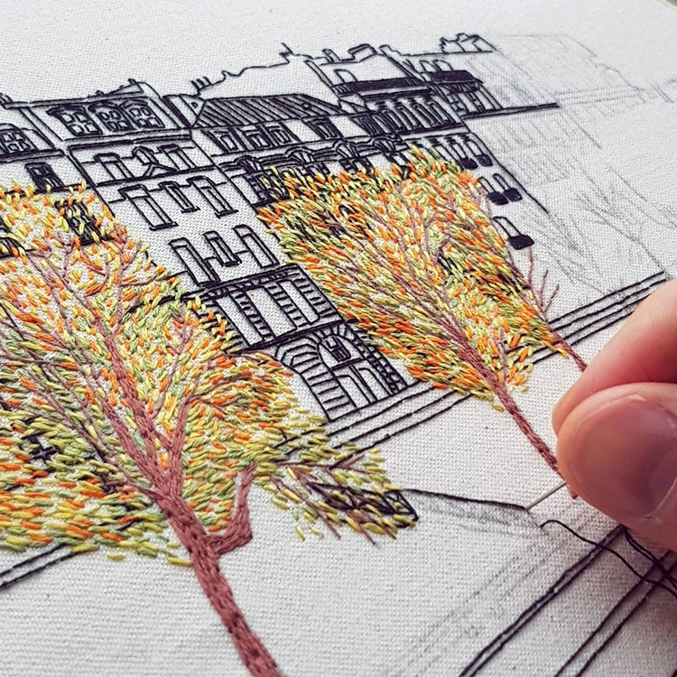 Textile Artist Couple Create Charming Architecture Embroidery Designs