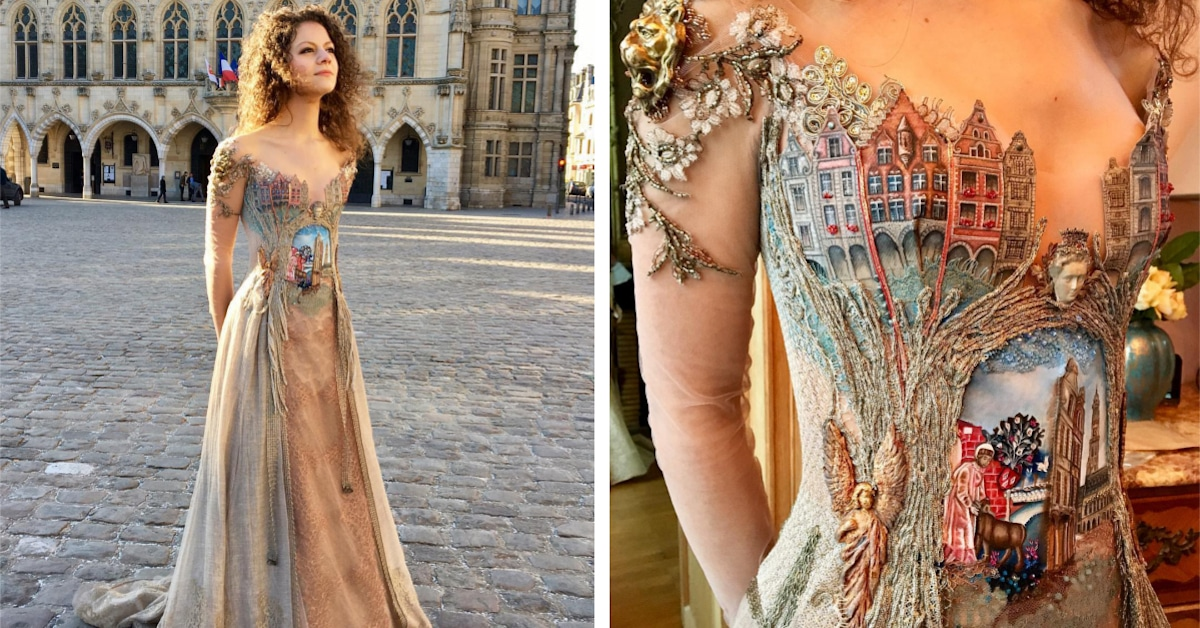 "Woman Creates Exquisite ""Wearable Storybook"" Dress Inspired by a French Town"