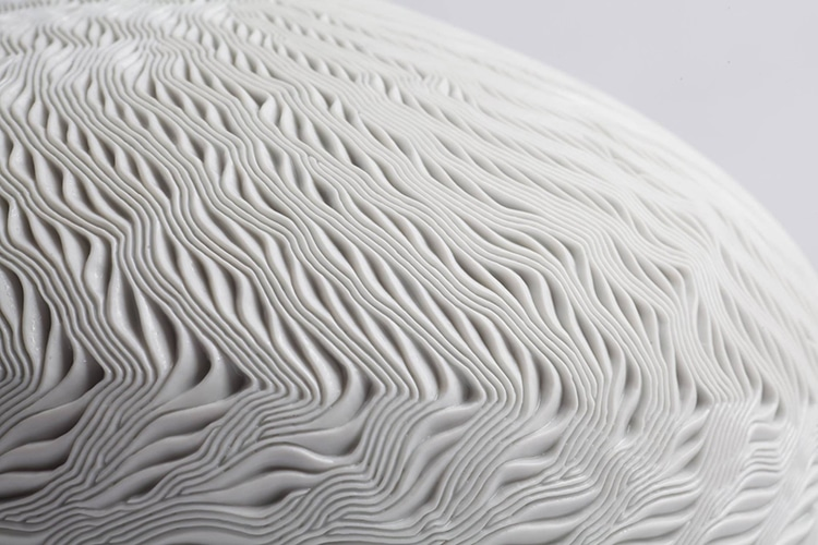 Ceramic Vases with Ocean Waves Pattern by Lee Jong Min