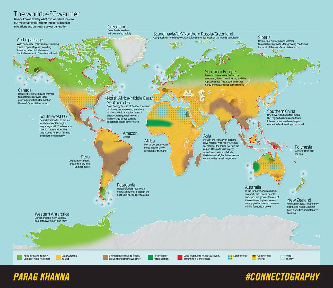 Global warming map by parag khanna shows results of 4c temp rise global warming map by parag khanna gumiabroncs Images