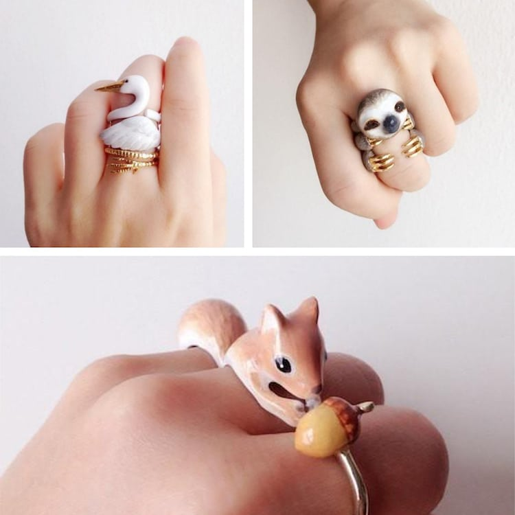 3 Piece Animal Rings Sloth Ring Squirrel Ring Crane Ring Mary Lou