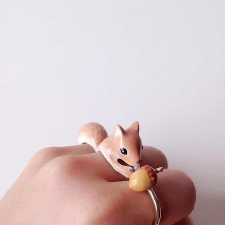 3 Piece Animal Rings Sloth Ring Squirrel Ring Crane Ring Mary Lou