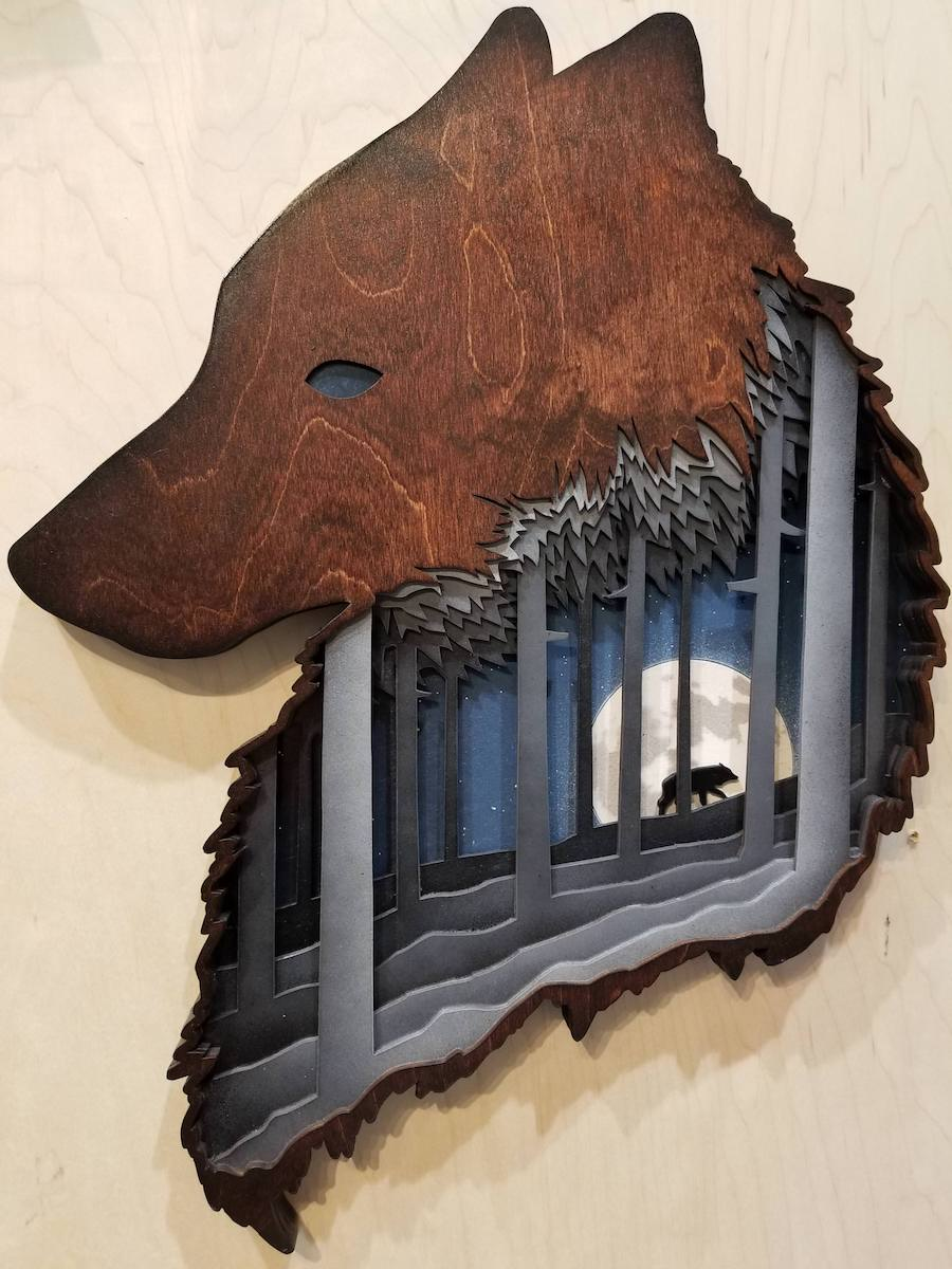 Shadowbox Sculpture Wolf Wood Art Shadowfox